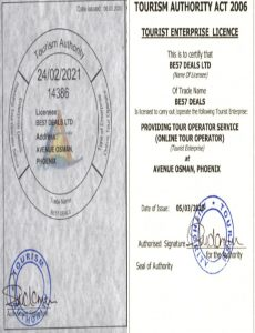 Tourism Licence BE57 DEALS