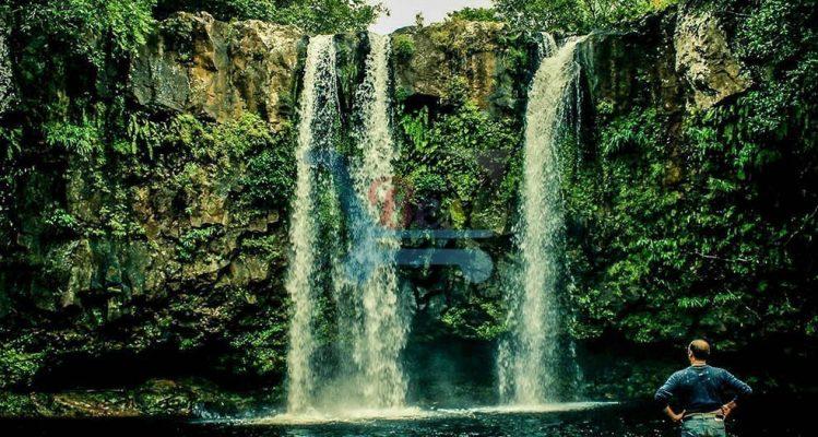 L'Exil Lodges waterfall